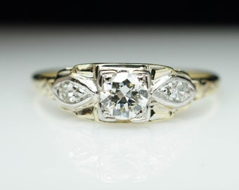 Vintage Art Deco Old European Cut Diamond Engagement Ring 14k Yellow Gold Wedding Ring