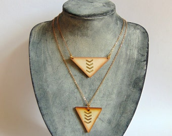 Wooden Triangles Necklace, Wood Necklace, Geometric Jewelry