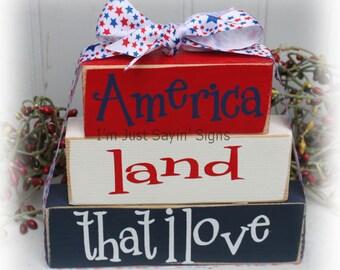 America Land That I Love Itty Bitty Stacking Blocks