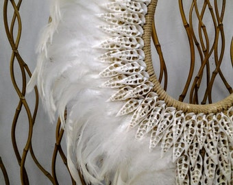 Papua Native Warrior necklace White feathers and white  shells.