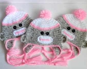 Crochet Handmade Sock Monkey Animal Hat in Aran Fleck and Pink  Girl Child Teen Adult Beanie Toque
