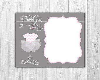 "Baby Shower Thank you Notes:  Gray and Pink ""TuTu""  - 8 Cards and 8 Envelopes"