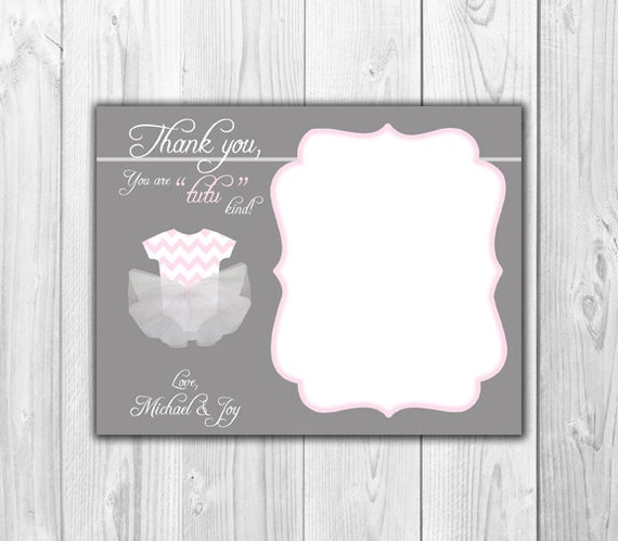 Baby Shower Thank You Notes: Gray And Pink TuTu