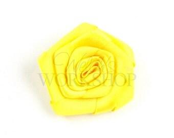 "Yellow - Set of 5 Satin 1.5"" Rolled Ribbon Rose Flower - RRR-005"
