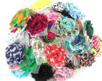 Shabby Grab Bag - Shabby Chiffon Flower Rosettes - Solids & Prints - You Choose Quantity