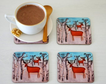 Deer Coasters set of 4, Animal Art Coasters, Artist Paintings Wooden Coasters with Gloss Finish, Christmas Table Winter Coasters