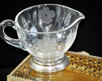 Antique Sterling and Etched Crystal Creamer, Etched Flowers, Sterling rim, Vintage creamer pitcher, #1631 Great Wedding Gift Idea