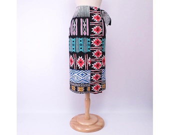 Vintage 80s Skirt Wrap Skirt Native Print Block Print Western Print Cotton Made in USA vintage size 8 or S to M