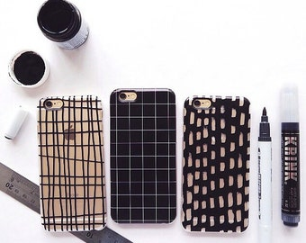 Black and Clear Grid Phone Case