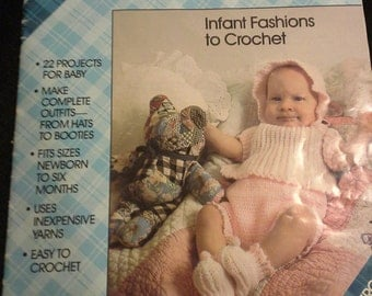 Baby outfit Crochet patterns Plaid's #8072 Infant Fashions to Crochet