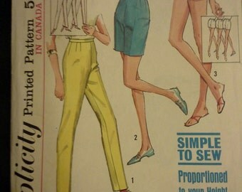60s Jamaica shorts and pants Simplicity pattern 5973 Waist 28