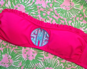 Monogrammed Ruffle Bandeau Top with Lilly Fabric Applique