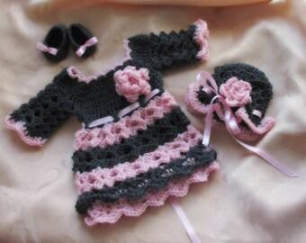 Easy Baby dress pattern, Baby girl dress pattern, crochet pattern, diy baby girl dress, Baby hat crochet pattern, Baby shoes crochet pattern