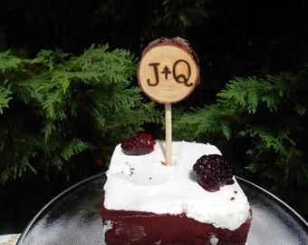 Cake Topper, Initial Cake Topper, Wedding Cake Topper, Wood Cake Topper, rustic wedding, woodland wedding