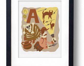A for Archaeologist A4 Original Illustration Print