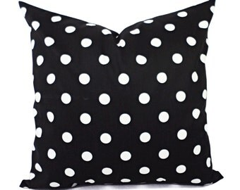 Two Black White Decorative Pillow Covers - Two Black and White Pillows - Polka Dot Pillows - Pillow Shams - Black Pillows - White Polka Dot