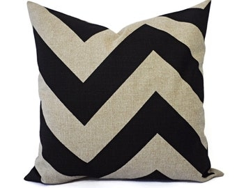 Two Chevron Pillow Covers - Two Beige and Black Pillow Covers - Burlap Throw Pillow - Decorative Throw Pillow - Chevron Pillow Cover 22 x 22