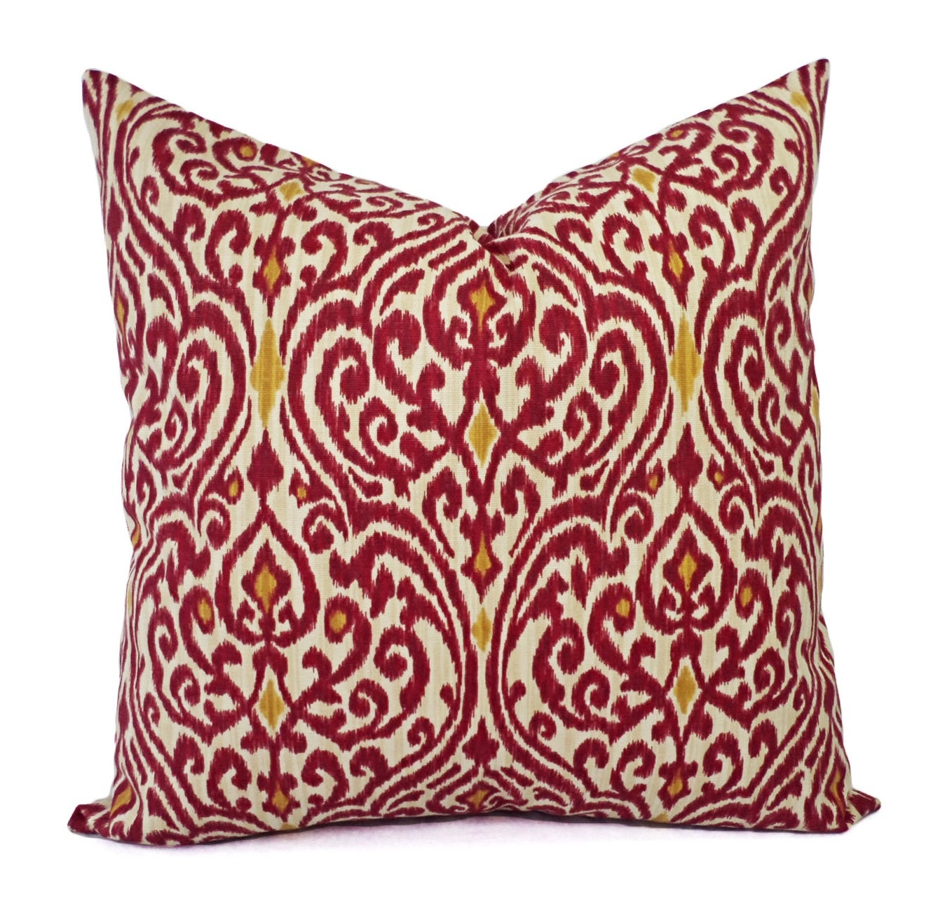 Throw Pillows Red And Gold : Two Ikat Pillow Covers Red and Gold Ikat Throw Pillows Red