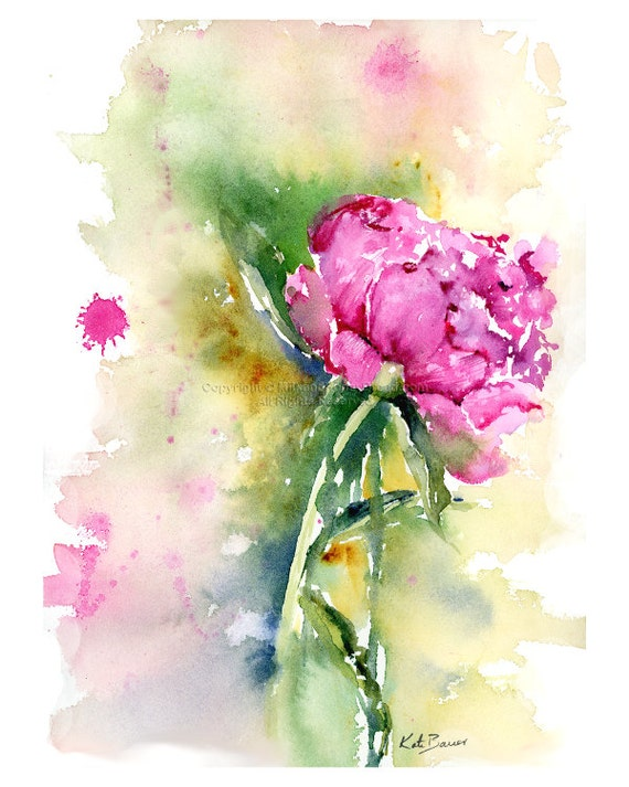 Color Me Pretty Abstract Peony Study Print of watercolor