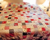 Vintage Handmade Patchwork Quilt Red Gingham King Size 96 x 92