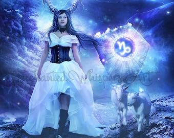 Capricorn fantasy woman Zodiac art print