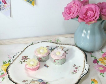 Vintage Collingwood cake plate. Pretty bird and blue and pink  flowers, 1920s. CP086