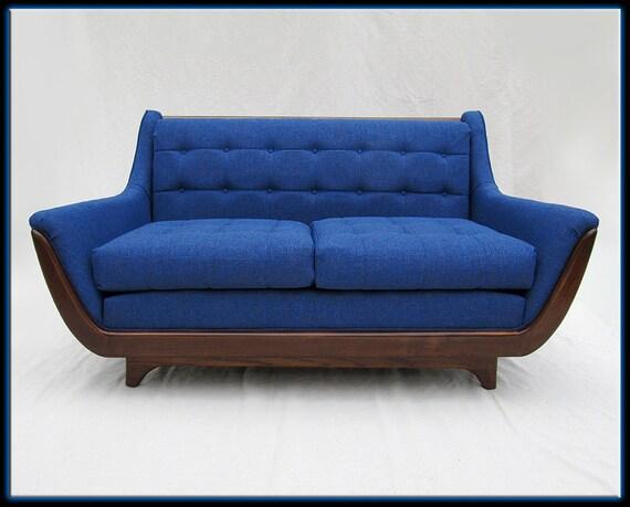 60s Mid Century Modern Pearsall Style Blue Sofa Loveseat New