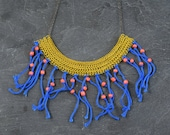 Boho Fringe Necklace, Yellow and Blue African Tribal Necklace, Summer Necklace, Bohemian Jewelry