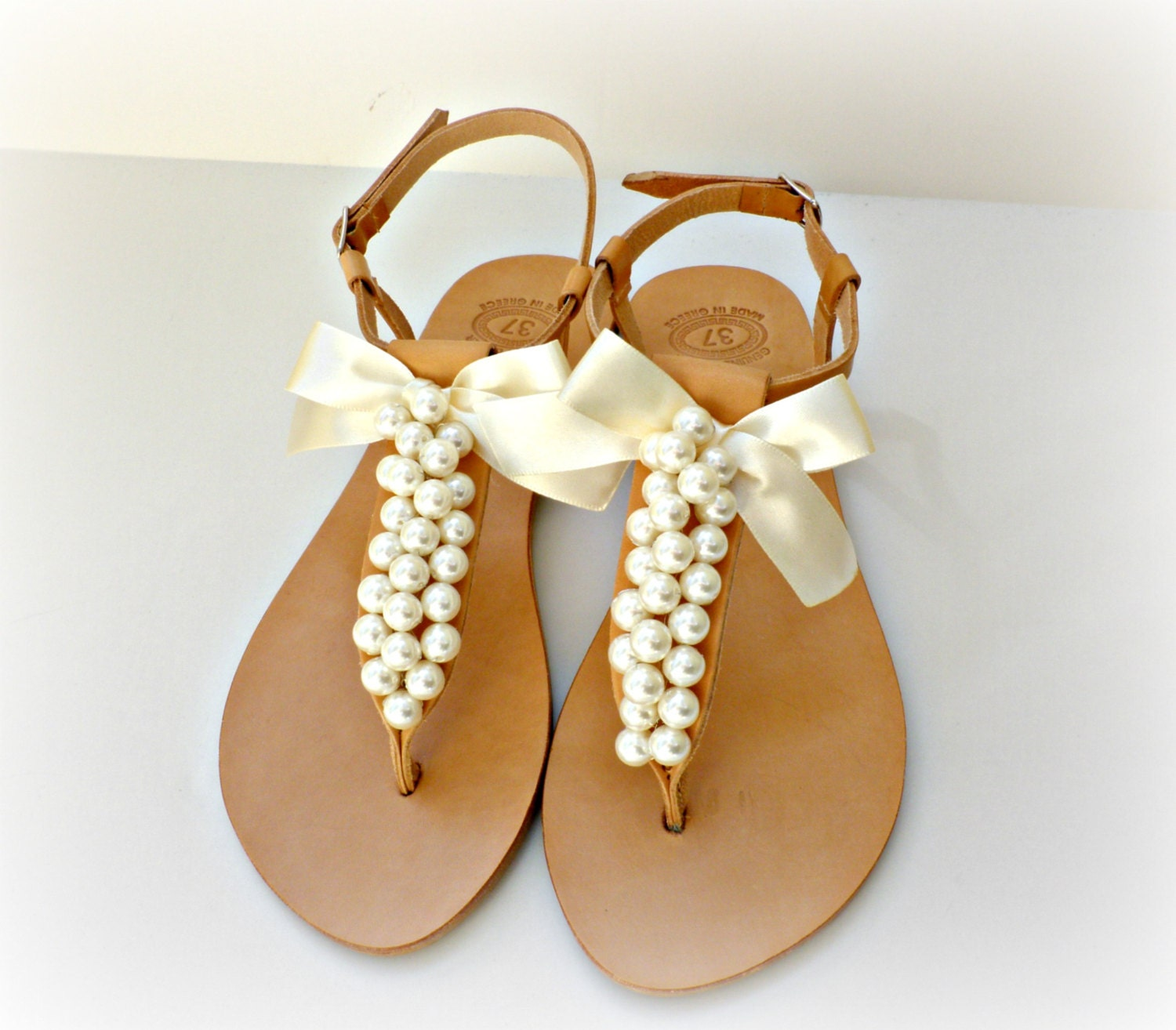 Wedding Sandals Greek Leather Sandals Decorated With Ivory