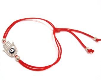 FREE SHIPPING Hamsa Bracelet Hand Bracelet Silver Bracelet Red Bracelet String BraceletEnter FREESHIP2017 coupon code at checkout