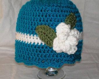 Crocheted Flower Hat, Girl Hat, Toddler Hat, Girl Beanie, Girls Accessories, Toddler Accessories