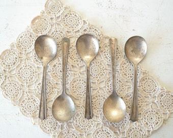set of 5 vintage spoons - rustic flatware