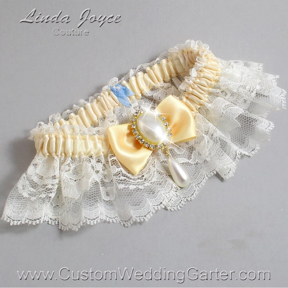 Items Similar To Ivory And Yellow Wedding Garter Lace