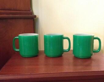 Vintage Glasbake Green Mugs Coffee Cups Set of 3