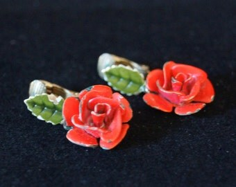 Vintage Red Rose Clip On Earrings