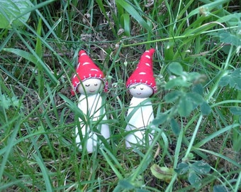 Waldorf inspired toadstool gnomes - boy and girl