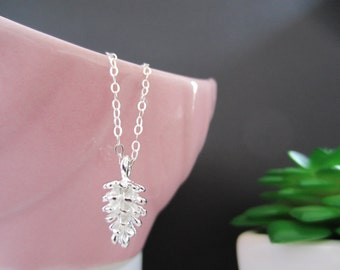 Pine Cone Necklace,Pine Cone,Cone,Silver pendant,Gift,Autumn,Winter,Forest necklace,Tree Necklace,Modern,Everyday - Sterling Silver chain