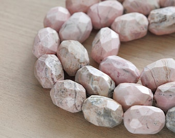 5 pcs of Natural Rhodonite Faceted Oval Beads
