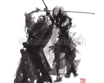 Kendo Samurai Sword Martial Arts Painting Abstract Art Japanese Style Home Decor