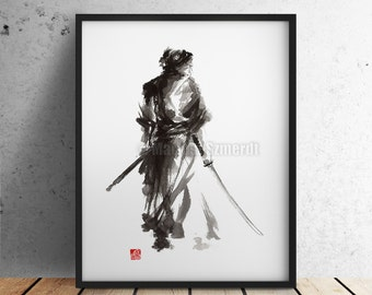 Samurai Painting, Watercolor Poster, Japanese Illustration, Warrior Poster, Katana Wall Hanging