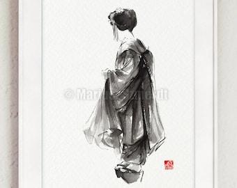 Geisha Drawing, Watercolor Illustration, Japanese Home Decor, Woman Painting