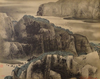 "CC Wang Original Signed Lithograph ""Mountain Village"""