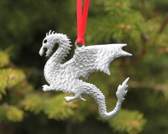 Hastings Pewter Hand Made Lead Free Pewter Dragon Ornament gift Made in Michigan decoration United States Free Shipping