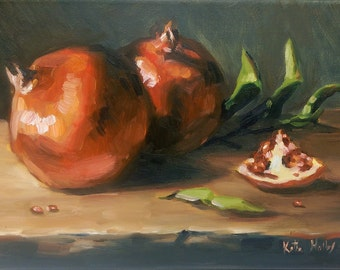 Study of Bright Red Pomegranates on a Rustic Wooden Ledge- Original Fruit Still Life Oil Painting- Kitchen Food Art
