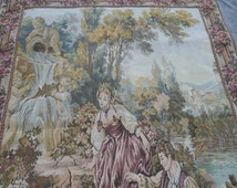 A superb vintage early 20TH century hand crafted French Aubusson tapestry wall hanging LARGE superb excellent condition French tapestry RARE