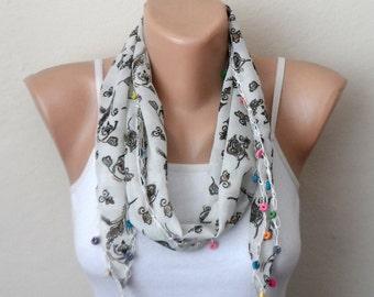 white scarf green flower blue purple pink beads  cotton turkish yemeni oya handmade