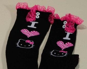 Cat Socks Girls Socks Boot Socks Knee Socks Tall Socks Children Socks Lace and Butttons