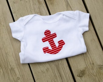 Red Nautical Anchor Baby Onesie