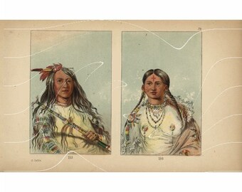 Original Antique Hand colored Print Of American Indian - American Indians From George Catlin from first colored Edition. Very Special