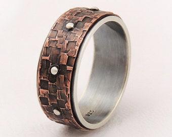 Men's copper silver wedding band ring - men engagement ring,men steampunk ring,rustic wedding ring,man ring